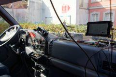 Das Innere des ITS-ausgerüsteten Einsatzfahrzeugs